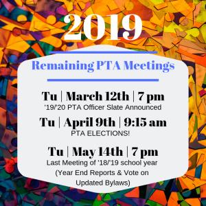 Remaining PTA Meetings